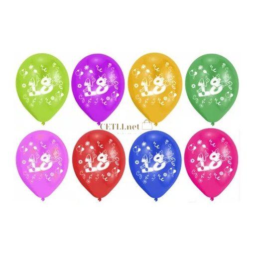 Happy Birthday 18 léggömb, lufi 8 db-os 10 inch (25,4cm)
