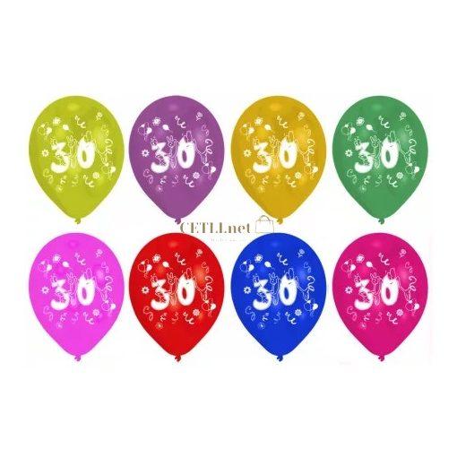Happy Birthday 30 léggömb, lufi 8 db-os 10 inch (25,4cm)