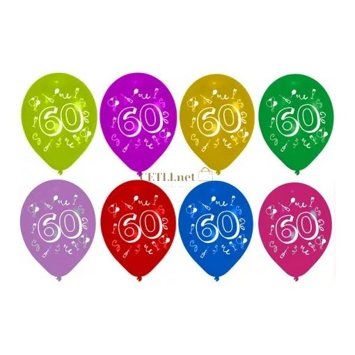 Happy Birthday 60 léggömb, lufi 8 db-os 10 inch (25,4cm)