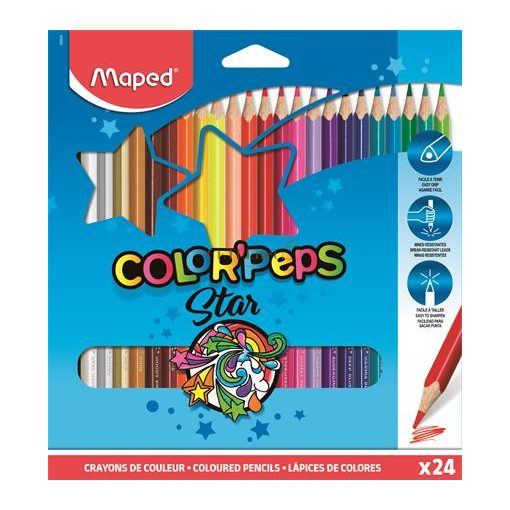 """Színes ceruza készlet, háromszögletű, MAPED """"Color'Peps"""", 24 különböző szín"""