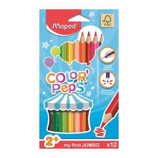 """Színes ceruza készlet, háromszögletű, vastag, MAPED """"Jumbo"""", 12 különböző szín"""