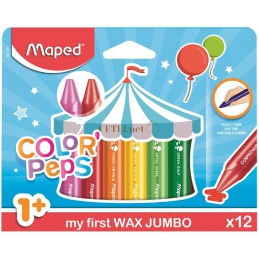 """Zsírkréta, MAPED """"Color'Peps MAXI Wax"""", 12 különböző szín"""