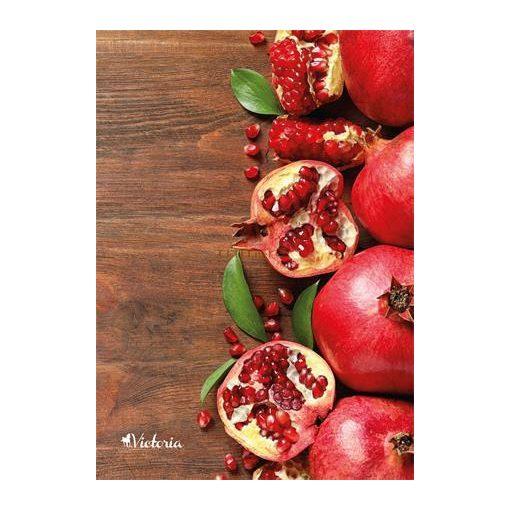 """Spirálfüzet, A4, négyzethálós, 80 lap, VICTORIA """"Fruit"""" - gránátalma"""