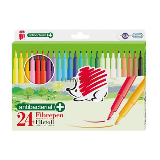 """Filctoll készlet, 1 mm, antibakteriális, ICO """"Süni 300"""", 24 különböző szín"""