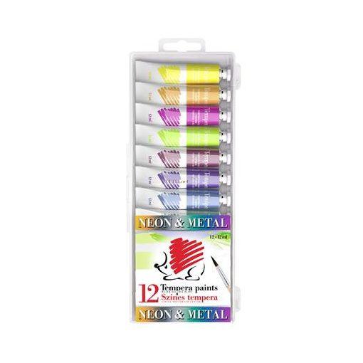 """Tempera készlet, 12 darabos, ICO """"Süni"""", metál és neon színek"""